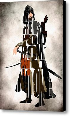 Aragorn Print - Viggo Mortensen as Aragorn from The Lord of the Rings Trilogy - Minimalist Illustration Typography Art Print & Poster The Hobbit Movies, O Hobbit, Aragorn, Legolas, Arwen, Viggo Mortensen, Typographic Poster, Typography Art, Canvas Art