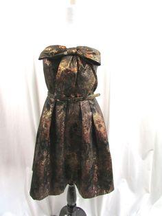 Anthropologie Eva Franco Samhain Strapless Metallic Bow Cocktail Dress Size 6…
