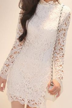 Slim package hip long-sleeved lace dress #AD32705
