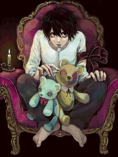 L Death Note - Meu lindo ; Anime Nerd, All Anime, Anime Guys, Manga Anime, Death Note Fanart, L Death Note, Elle Lawliet, Amane Misa, Nate River