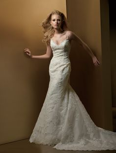 A-line Spaghetti Chapel Train Lace Wedding Dresses