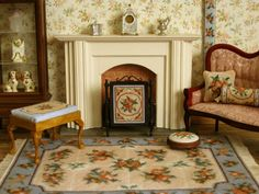 Finished dollhouses and rooms | Finished embroidery: a doll's house scale firescreen with matching ...