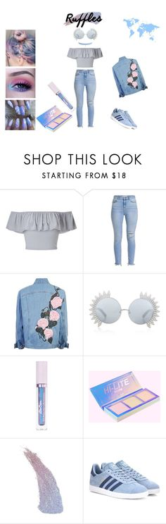 """Holographic Ruffles"" by sarah-emoji ❤ liked on Polyvore featuring Miss Selfridge, Linda Farrow, Lime Crime, Sugarpill, adidas Originals and Jules Smith"
