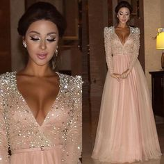 Prom Dresses Under 50 Long Sleeves Prom Evening Dresses 2016 Blush Pink V Neck Crystals Sash Floor Length A Line Plus Size Myriam Fares Celebrity Party Dresses Purple Prom Dress From Angellove_dresses, $115.19| Dhgate.Com