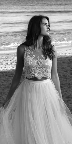 lihi hod bridal 2016 venus wedding dress romantic two piece embellished sleeveless crop top full tulle skirt gorgeous detail zoom