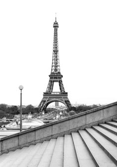 black and white eiffel tower as seen from trocadero steps paris
