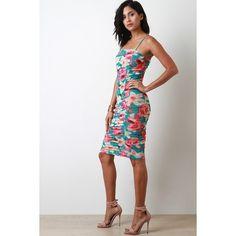 Floral Mesh Ruched Bodycon Dress ($46) via Polyvore featuring dresses, bodycon dress, floral print dress, mesh bodycon dress, floral print bodycon dress and mesh dress
