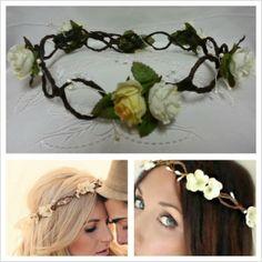 Floral Headbands: Bride and Flower girl Bride Headband, Floral Headbands, Brides And Bridesmaids, Crown, Flowers, Jewelry, Fashion, Moda, Corona