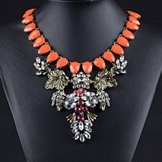 Orange Gemstone Statement Necklace Beautiful and new! Jewelry Necklaces