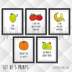 CHOOSE ANY FIVE 8x10 INCH (20x25 CM) PRINTS:  AVOCADO - LET'S AVOCUDDLE BANANA - I FIND YOU VERY APPEELING BEAN - IVE BEAN THINKING OF YOU BERRY - I LOVE YOU BERRY MUCH CHERRY - YOU ARE CHERRY SWEET BEETROOT - YOU MAKE MY HEART BEET TOMATOES - I LOVE YOU FROM MY HEAD TOMATOES KALE - KALE ME MAYBE LIME - LIME YOURS OLIVE - OLIVE YOU SO MUCH IT HURTS MELON - YOURE ONE IN A MELON ORANGE - ORANGE YOU SO SWEET? PEAR - WE MAKE A GREAT PEAR HONEYDEW - HONEYDEW YOU WANT TO GET MARRIED?   These cute…