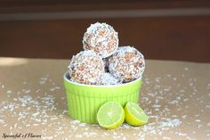 Key Lime Coconut Energy Bites ~ quick, no bake treats that are vegan and paleo friendly!