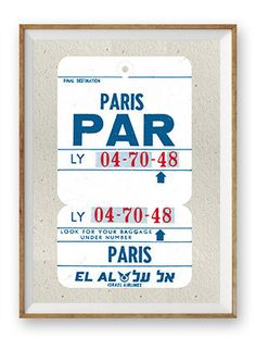 Vintage airline luggage tag screen print Paris – DOWSE
