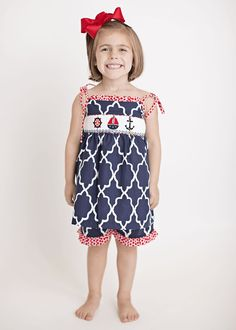 fe06e5f6c2 Hand Smocked Nautical Girl's Short Set | This and That For Kids |  Children's Clothes