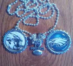 Philadelphia eagles bottle cap necklace by LegacySportsJewelry on Etsy