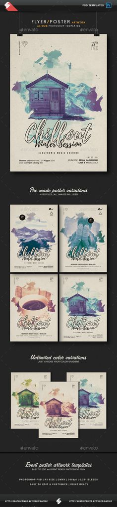 Chillout Winter Session - Flyer / Poster Artwork Template A3 PSD
