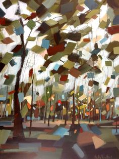 Painting Of Abstract Trees. Green, Blue, And Brown Forest. Light Blue Sky. By Holly Van Hart.-Holly Van !!