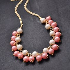 beadwork necklace,bid necklace,pink statement necklace,summer jewelry,bridesmaid gifts,multi strands Pearl Necklace With Freshwater Pearl