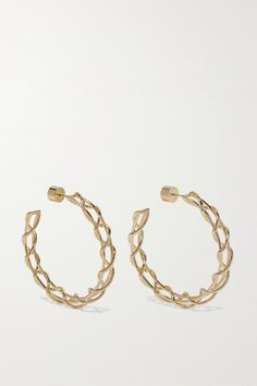 Jennifer Fisher's earrings are playfully designed to resemble shoe laces. This lightweight pair is made from polished gold-plated brass in a classic hoop silhouette. We like them stacked with simple studs. Black Diamond Earrings, Raw Diamond, Silver Ear Cuff, Sterling Silver Earrings, Anniversary Gifts For Wife, Jennifer Fisher, Jewelry Trends, Ear Piercings