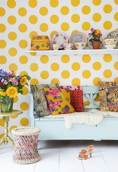 Bright Yellow Dotted Wall Covering :)