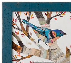 The Warblers Horizontal Birds In Tree Paper Collage Art - The Warblers Is An Artful Celebration Of A Favorite Bird Original Artwork Features Trio Of Birds And Tree Created With Colorful Collage Of Found Vintage Papers The Warblers Horizontal Birds In T Tree Collage, Paper Collage Art, Collage Artwork, Bird Artwork, Paper Art, Bird Paintings On Canvas, Indian Paintings, Abstract Paintings, Art Paintings