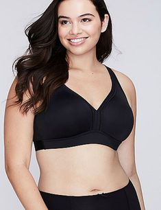0841b5a44aaf4 New CACIQUE  42 Silky No Wire Free Unlined Cooling Bra LANE BRYANT Black  46DD  fashion