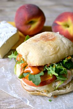Turkey-Brie Sandwich with peaches, arugula, & spicy mayo | lemon tree dwelling