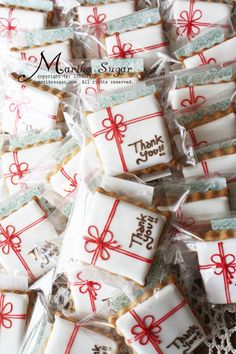 Thank you cookies all nicely wrapped Edible Cookies, Galletas Cookies, Iced Cookies, Cupcake Cookies, Sugar Cookies, Thank You Cookies, Fancy Cookies, Sweet Cookies, Cute Cookies