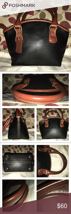 """✂️Vintage Coach✂️ Vintage Coach! I couldn't find info on it but I've had it for yrs! It's a cute little bugger and clean inside and out! Black pebbled leather with Tan leather trim and handles! It is lined, no pockets inside or out, minimal scratch on feet! Double rolled handle is 6"""" the bag measures approx  8"""" at the base tapers up to 10"""" up the middle is 7"""" X 4.5 🚫no trades price firm🚫 Coach Bags Satchels"""