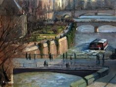 ARTFINDER: The Seine in Paris by Pascal Giroud - «Here is a view of the Seine in Paris near l'ïle St Louis with the Pont au Double  in the foreground.»  ▧ Original Oil Painting.  ✐ Material : - MDF Pan...