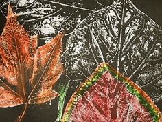 Beautiful fall leaf art: Brayer white paint onto large leaf- print on black paper. When dry, color with colored pencils (I think metallics would be extra cool.) Click through to the link at New City Arts blog for more directions/ photos.
