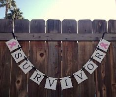 Breast Cancer Survivor Banner, Pink Awareness Ribbon,Anniversary Party, Wedding Engagement Photo Prop Sign on Etsy, $15.00