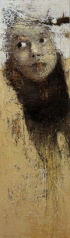 """Senza Titolo"" - Monica Leonardo, 2003 {contemporary figurative #impressionist art female head #impasto texture woman face portrait grunge painting}"