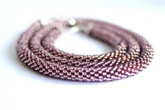 Items similar to Beaded rope necklace and bracelet in dark purple, violet. Simple tube necklace and bracelet. Classy everyday jewelry on Etsy Beaded Necklace, Beaded Bracelets, Jewelry Sets, Unique Jewelry, Everyday Necklace, Handmade Items, Handmade Gifts, Dark Purple, My Etsy Shop