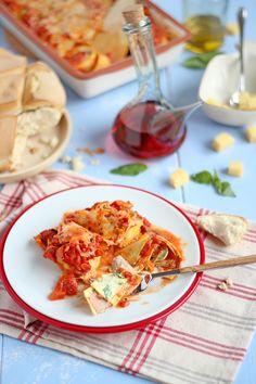 Lasagna rollata (with ham, ricotta, pesto and spinach)