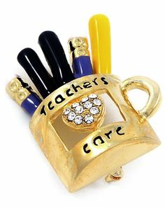 Goldtone Teachers Care Crystal Brooch Pin PammyJ Brooch Pin. $16.99. Save 37%!