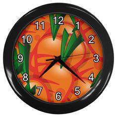 Carrots+Pattern+Black+Frame+Kitchen+Wall+Clock