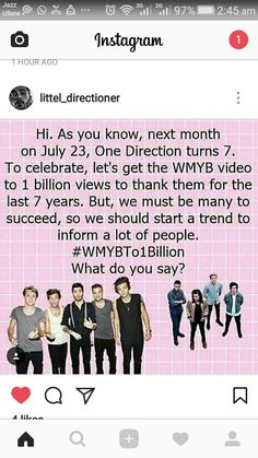 we need help! Even if you aren't a 1D fan, could you do us a favor and watch it? We all know what it's like to be in a fandom. Plus, If you help us we could help you in the future! #WMYBToneBillion
