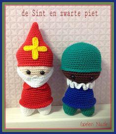 Sinterklaas en Zwarte Piet, gehaakt door Nicole, patroon van Juffrouw Hutsekluts