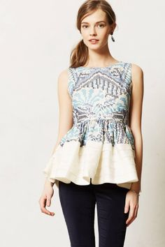 Printed Peplum Top from anthropologie.com