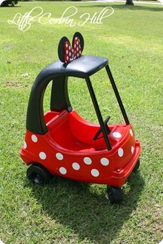 Love it!!!!  minnie mouse car by Little Corbin Hill... I know what I'll be looking for at garage sales & thrift stores now. Perf for my lil almost bday girl