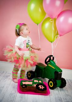 First Birthday Girl, Green Tractor, John Deere, Pink and Green.