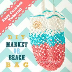 Learn how to crochet a bag with this easy to follow tutorial! Iuliana shows how to crochet a large bag or market tote. Easy crochet bag pattern.