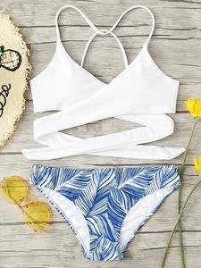 Shop Criss Cross Wrap Top With Leaf Print Bikini Set online. SHEIN offers Criss Cross Wrap Top With Leaf Print Bikini Set & more to fit your fashionable needs. Bathing Suits For Teens, Summer Bathing Suits, Swimsuits For Teens, Cute Bathing Suits, Cute Swimsuits, Cute Bikinis, Modest Swimsuits, Flattering Swimsuits, Teen Bikinis