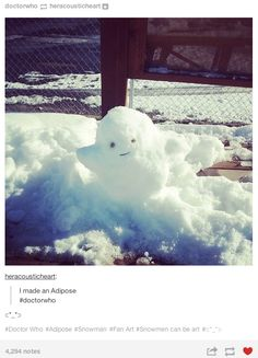 This Whovian who knows that the best snowmen are made out of fat. | 19 Whovians Whose Christmas Game Is Too Strong