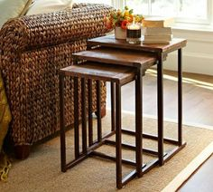 My nesting tables are somewhat similar to these, except with a tortoise shell top (vs. wood)