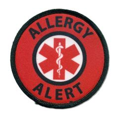ALLERGY ALERT Black Rim and Red Medical Alert 3 inch Sew-on Patch from Creative Clam