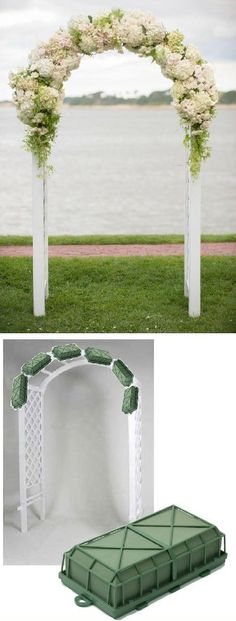 Wedding Arch Flowers – Foam Cages for Arch Flowers Free Tutorials www.wedding-flowe… Learn how to make bridal bouquets, corsages, boutonnieres, reception table centerpieces and church decorations. Buy wholesale fresh flowers and discount florist supplies. Wedding Reception Centerpieces, Flower Centerpieces, Wedding Bouquets, Flower Arrangements, Wedding Decorations, Church Decorations, Reception Ideas, Reception Table, Wedding Backdrops
