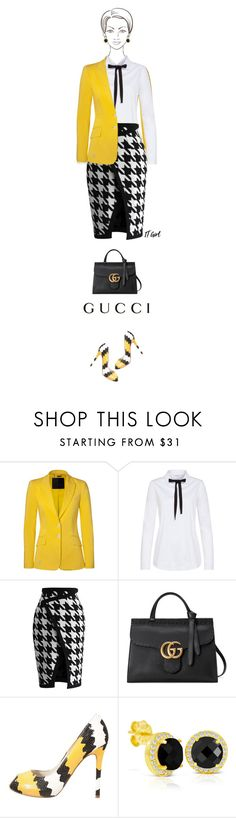 """""""Office outfit: Black - White - Yellow"""" by downtownblues ❤ liked on Polyvore featuring Philipp Plein, Chicwish, Gucci and Mai Piu Senza"""