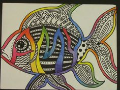 FISH, name art with line/pattern
