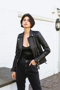 5 Stylish Ways to Wear a Leather Moto Jacket | Who What Wear Black Leather Biker Jacket, Moto Jacket, Leather Jackets, Maxi Coat, Shearling Jacket, Printed Pants, Gold Leather, Who What Wear, Chic Outfits